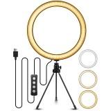 EGL-02 10 inch 3 Color Modes 10 Brightness Levels USB Video Light Selfie Makeup Stand Tripod Sets for Video Live-Stream Vlog