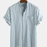 Mens Cotton Stripe Stand Collar Chest Pocket Short Sleeve Casual Shirts