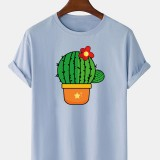 Mens Cute Cartoon Cactus Printed Short Sleeve Breathable 100% Cotton T-Shirts