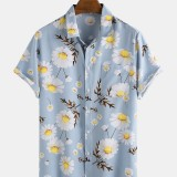Daisy Floral Printed Turn Down Collar Short Sleeve Hawaii Holiday Shirts For Men Women