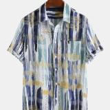 Mens 100% Cotton Splash Ink Stripe Patch Pocket Breathable Short Sleeve Casual Shirts