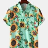 Men Women Sunflower Floral Print Chest Pockets Turn Down Collar Hawaii Casual Short Sleeve Shirts
