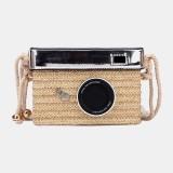 Summer Fashion Camera Shaped Straw Crossbody Bag Shoulder Bag