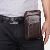 Men Genuine Leather 6.5 Inch Phone Bag Waist Bag Belt Bag Crossbody Bag