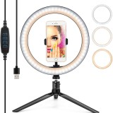 10 Inch LED Ring Light Dimmable Desktop Selfie Light Tripod Stand for YouTube Tiktok Video Live Stream Makeup Photography