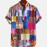 Mens Ethnic Style Multi Patterns Breathable Short Sleeve Casual Shirts