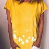 Short Sleeve V-neck Daisy Print Crew Neck Women Casual T-shirts