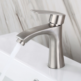 Stainless Steel Bathroom Basin Faucet Single Cold Single Handle Sink Tap With Hoses Lead Free