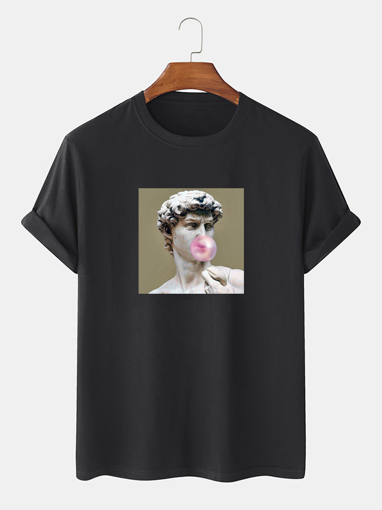 Mens 100% Cotton Character Pattern Print Crew Neck Short Sleeve T-Shirts
