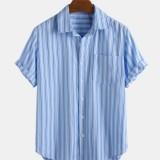 Mens Casual Stripe Printed Turn Down Collar Short Sleeve Loose Shirts
