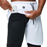 Mens Solid Quick-Drying Practical Pocket High Elasticity Sport Training Gym Fitness Shorts