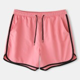 Mens Solid Color Pockets Drawstring Sport Loose Board Shorts Recycled Jogging Shorts