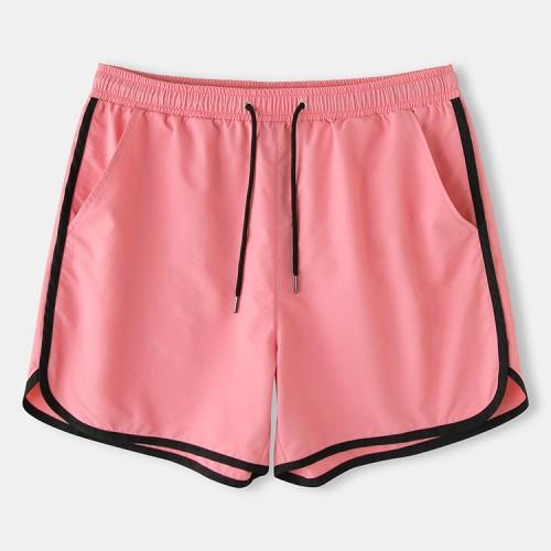 Mens Solid Color Pockets Drawstring Sport Loose Board Shorts Recycled Jogging Shorts