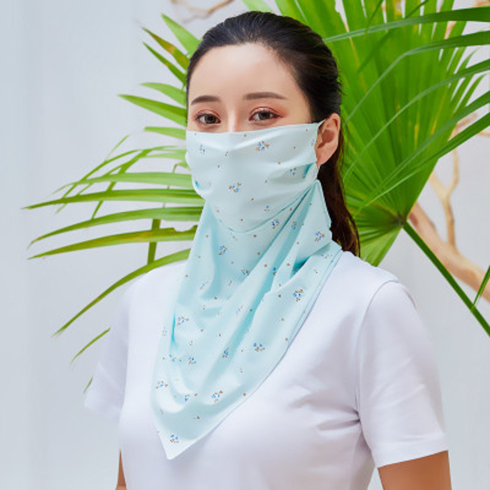 Summer Cycling Sunscreen Mask Scarf Neck Protection Brethable UV Resistant Ice Silk Veil