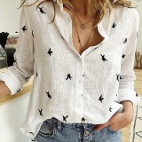 Daily Casual Women Bird Print Cotton Linen Long Sleeve Shirt Commute Blouse