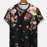 Mens Floral Print Crew Neck Short Sleeve Casual Balck T-Shirts