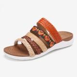 Lostisy Women Bohemia Woven Open Toe Soft Sole Casual Slides Flat Sandals