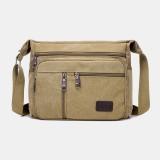 Men Canvas Large Capacity Simple Shoulder Bag Crossbody Bag For Travel
