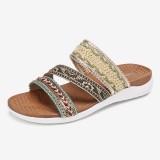 Lostisy Women Bohemia Open Toe Soft Sole Casual Summer Beach Slides Flat Sandals