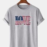 100% Cotton America Flag LOVE Print Crew Neck Short Sleeve T-Shirts