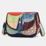 Women Tassel Genuine Leather Patchwork Shoulder Bag Crossbody Bag