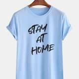 Mens Stay At Home Slogan Casual Round Neck Short Sleeve Casual T-Shirts