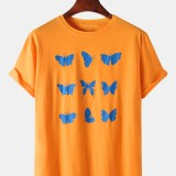 Mens Butterfly Print Crew Neck Short Sleeve Casual T-Shirts