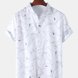 Mens Designer Geometry Print Button Up Casual Short Sleeve Shirts