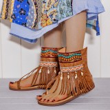 LOSTISY Women Embroidered Toe Ring Back Zipper Gladiator Sandals