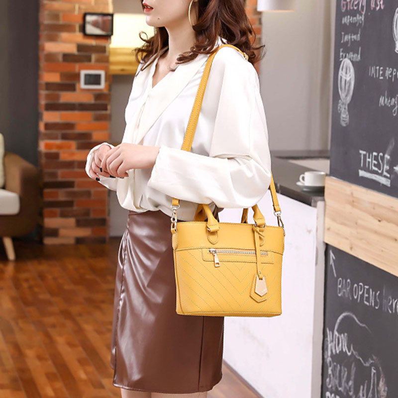 Women Solid Multi-pocket Commuter Satchel Crossbody Bag Shoulder Bag Handbag