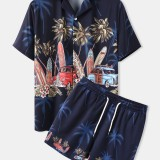 Mens Cartoon Surfboard & Car Print Short Sleeve Drawstring Two Piece Set Casual Outfits