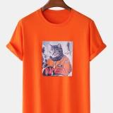 Men 100% Cotton Fun Pilot Cat Print Casual Home Short Sleeve T-Shirts