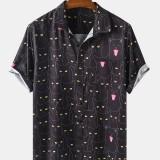 Mens Funny Cartoon Black Cat Print Casual Short Sleeve Shirts Short Sleeve Lapel Collar Shirts