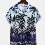 Mens Casual Gradient Tropical Coconut Print Lapel Collar Short Sleeve Hawaii Shirts