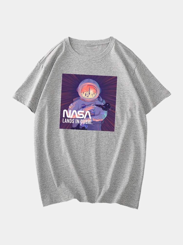 Mens Cotton Funny Astronaut License Crew Neck Short Sleeve Casual T-Shirts
