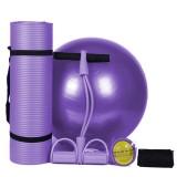 3Pcs/Set Body Shaping Fitness Yoga Ball + Yoga Mat Pad + Pedal Puller Latex Abdominal Trainer