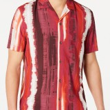 Mens Fashion Casual Striped Turn Down Collar Short Sleeve Shirts