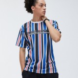 Men Multicolor Striped Letter Print Breathable Crew Neck Sport Short Sleeve T-Shirts