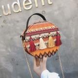 Women Straw Tassel Striped Chains Handbag Crossbody Bag
