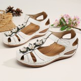 LOSTISY Women Flower Decro Cutout Hook Loop Breathable Casual Wedge Sandals