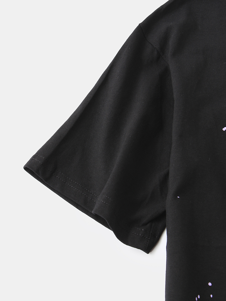 Mens Designer Print Loose Short Sleeve Crew Neck Loose T-Shirts