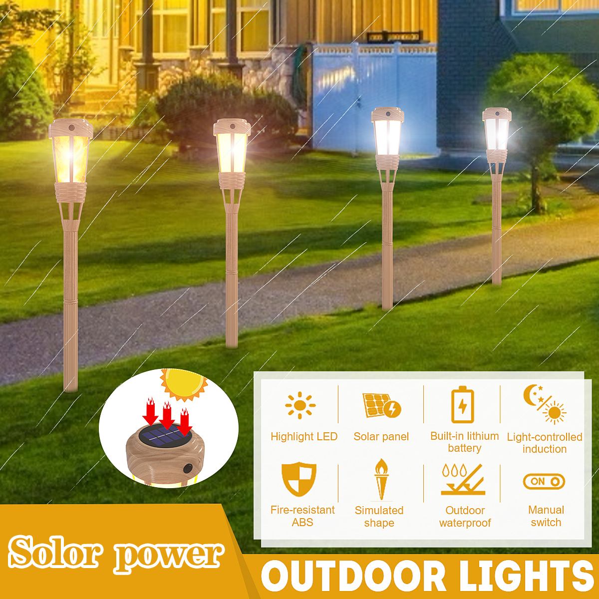 Solar Powered Lawn Light Garden Decoration Light Outdoor Waterproof Flame Lamps