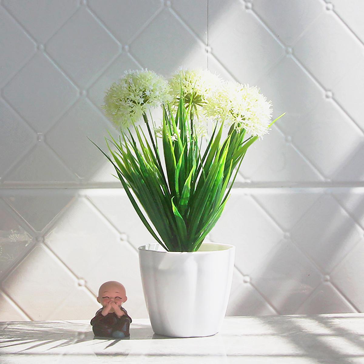 Artificial Green Leaf Plants Hydrangea Plastic Pot Home Garden Decor