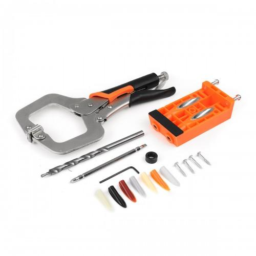 Plastic Pocket Hole Jig Set Woodworking Tools Welding C Clamp Locking Plier Tenon Locator