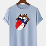 100% Cotton Cheetah America Independence Day Print Crew Neck Short Sleeve T-Shirts