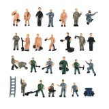 25pcs 1:87 Painted Mix Model Different People Poses Workers Scale Decorations