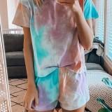 Tie Dye Print Loungewear Set Dradient Short Sleeve Two Piece Pajamas