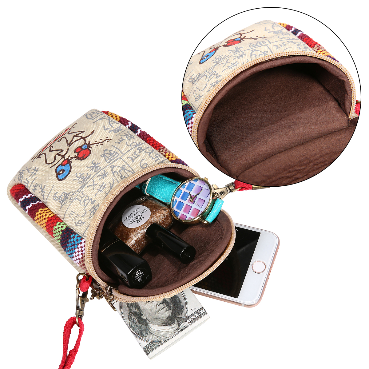 Fashion Ethnic Style Casual Mini Zipper Canvas Women Phone Bag Crossbody Bag Messenger Bag