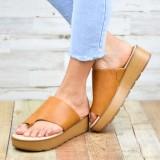 Women Toe Ring Comfy Summer Beach Slip On Casual Platform Sandals