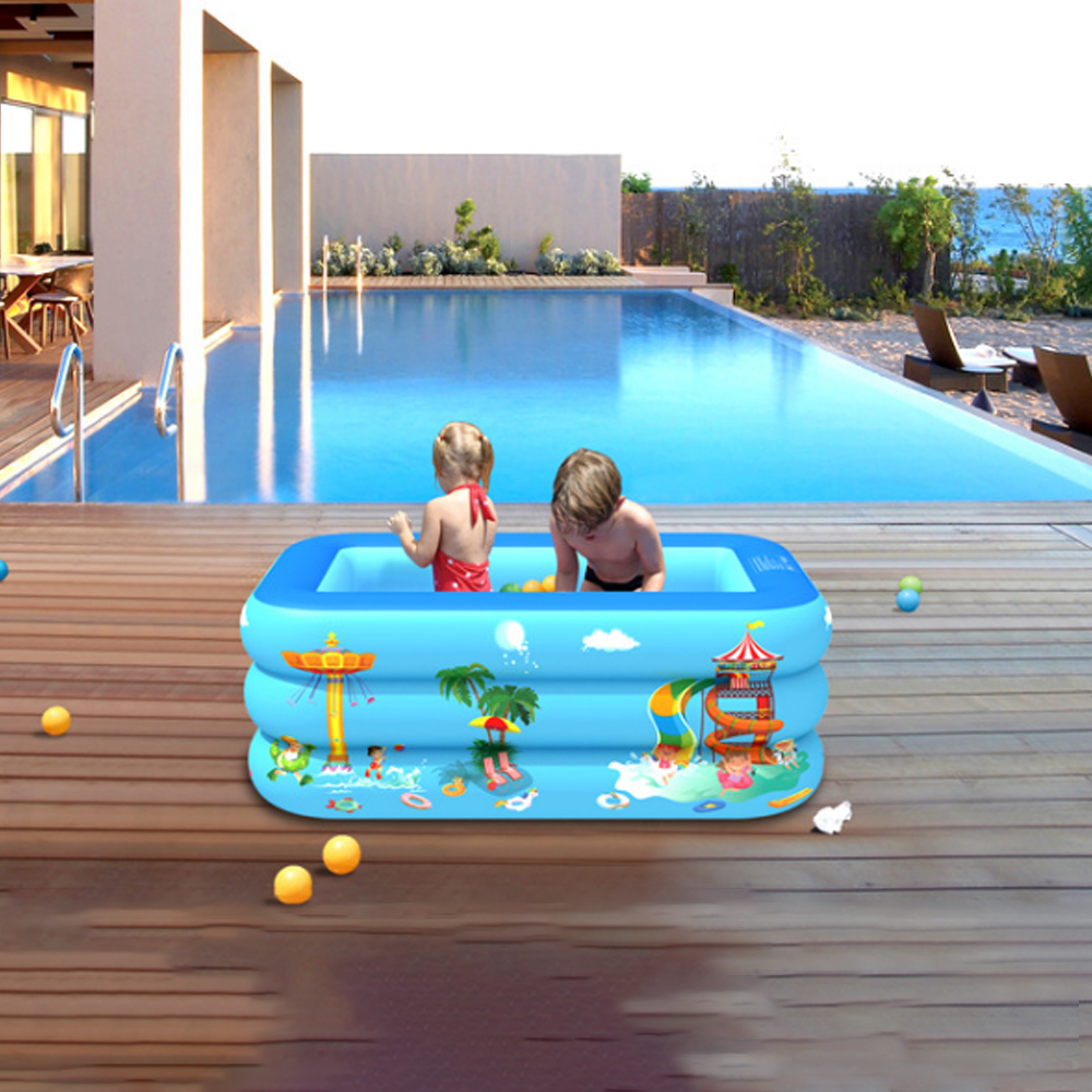 120/130/150cm Amusement Park Pattern Children Inflatable Swimming Pool 2/3 Layer Inflatable Bathtub Kids Summer Water Fun Play Toy